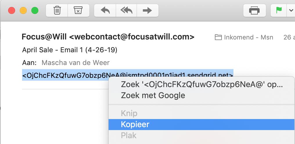 Link naar een mail in Apple Mail geselecteerd waarbij geklikt wordt op de optie Kopieer in het contextmenu.