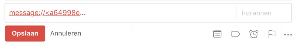Link naar een e-mail in Apple Mail in de omschrijving van een taak in Todoist