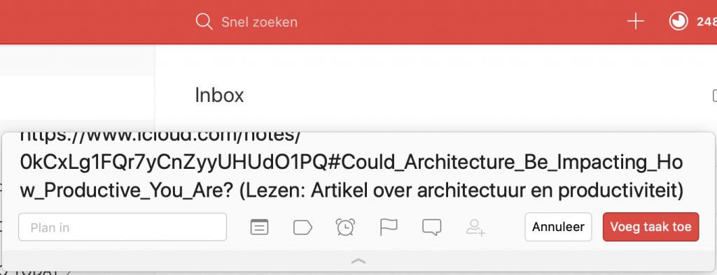 Quick Add venster van Todoist met daarin de link naar de notitie in Apple Note en daarachter tussen haakjes de tekst van de link.