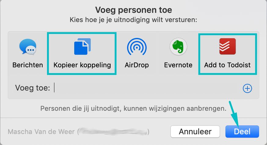 Venster om Apple Notes notitie te delen, waarin de opties Kopieer koppeling, Add to Todoist en de knop Deel gemarkeerd zijn.