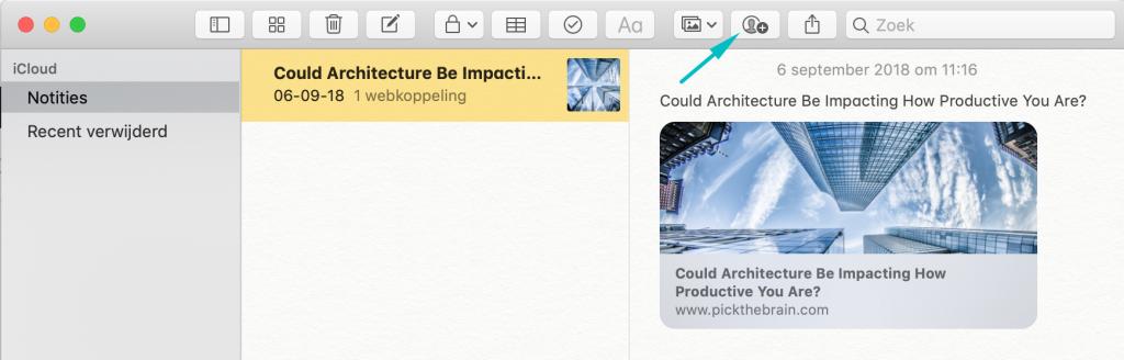Notitie geselecteerd in Apple Notes met pijl naar knop 'Voeg personen toe aan deze notitie'.