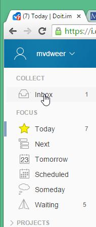 Inbox in de taakmanager Doit.im