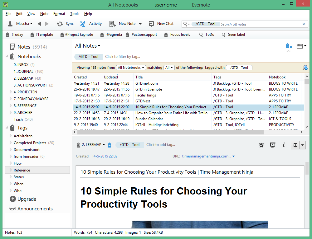 Notities in Evernote