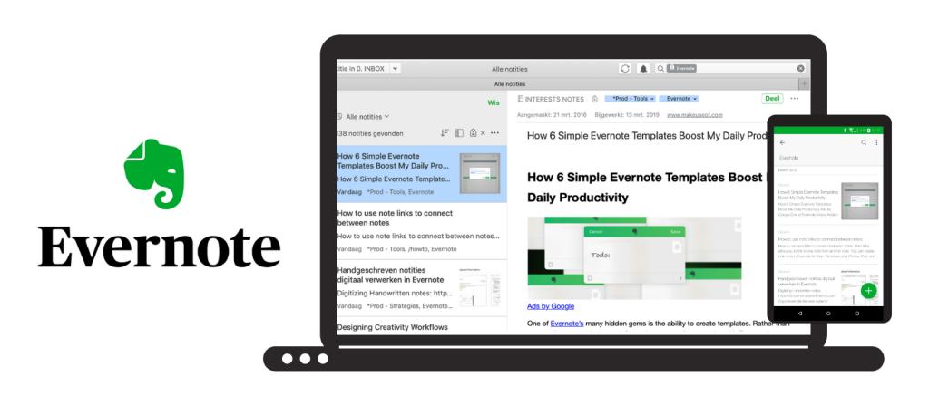 Evernote logo en laptop en smartphone met Evernote op het scherm