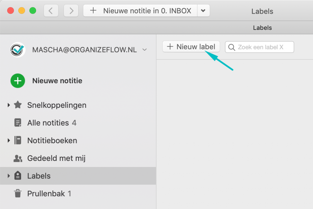Nieuw label toevoegen aan Evernote via de knop Nieuw label