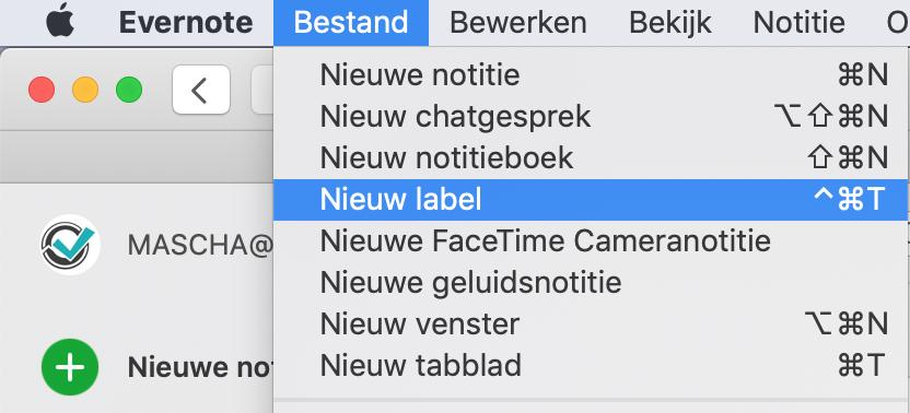 Nieuw label toevoegen aan Evernote via het menu Bestand