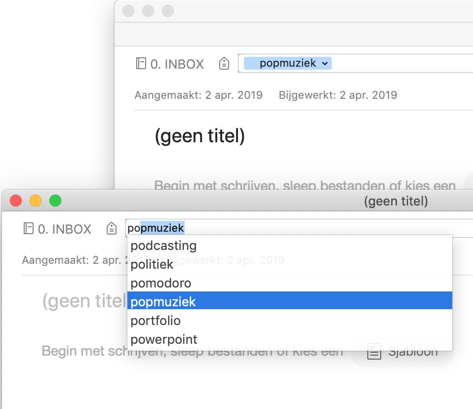 Bij een notitie in Evernote een label selecteren dat zojuist is aangemaakt