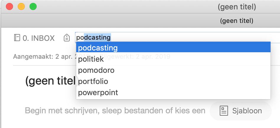Evernote filtert de lijst met labels terwijl je typt