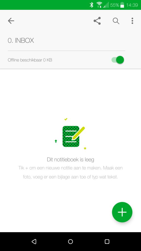 Nieuwe notitie toevoegen in Evernote via je smartphone