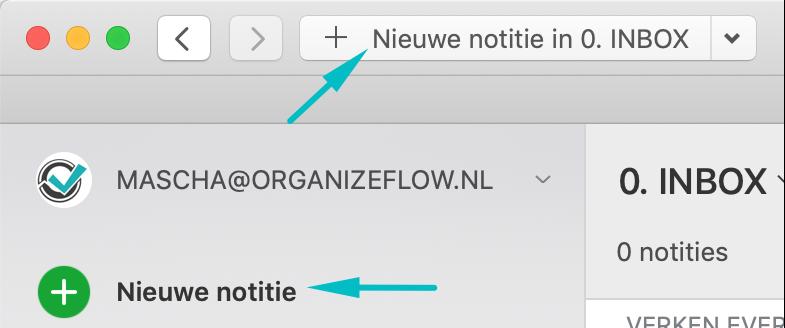Nieuwe notitie toevoegen in Evernote via de desktop-app