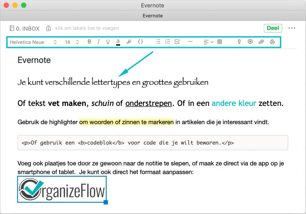 Notitie in Evernote met afbeelding en verschillende tekstopmaak