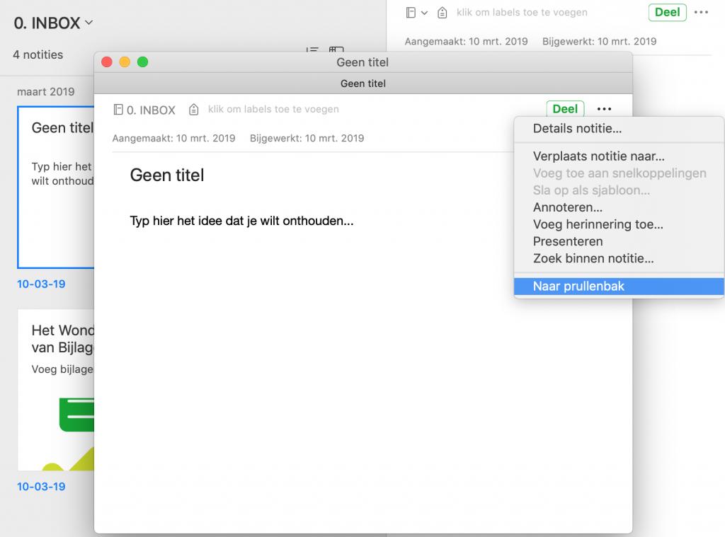 Geopende notitie verwijderen uit Evernote