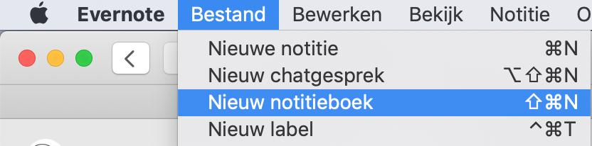 Nieuw notitieboek toevoegen in Evernote via menu