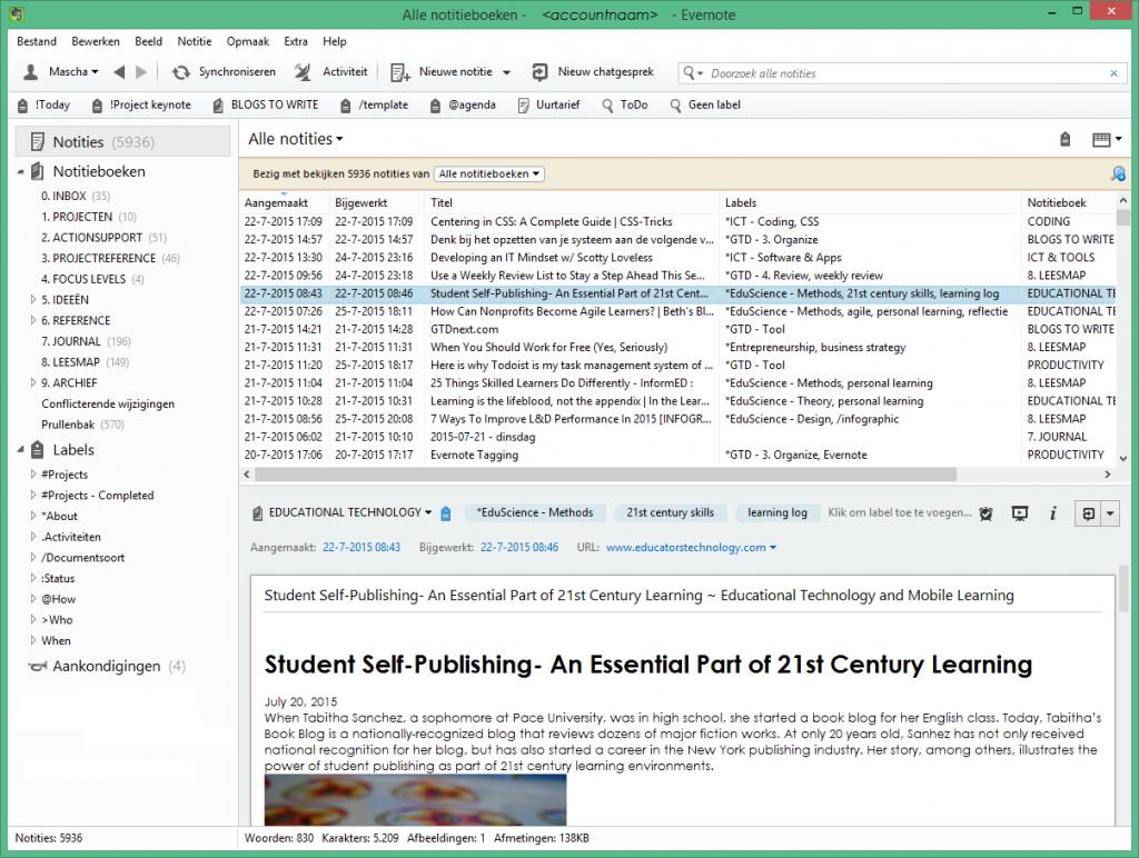 Notitieblokken, labels en notities in Evernote