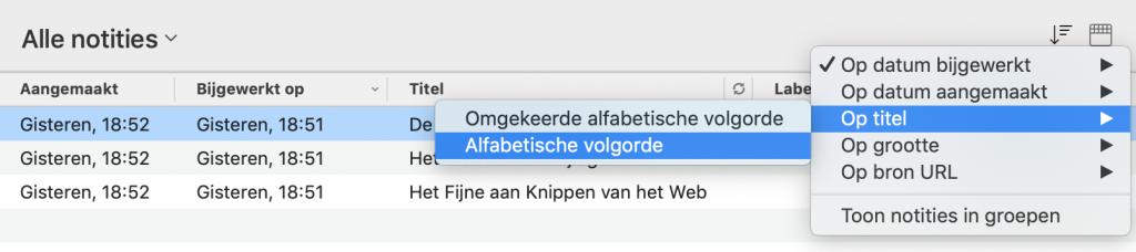 Sortering van de notitielijst wijzigen in Evernote