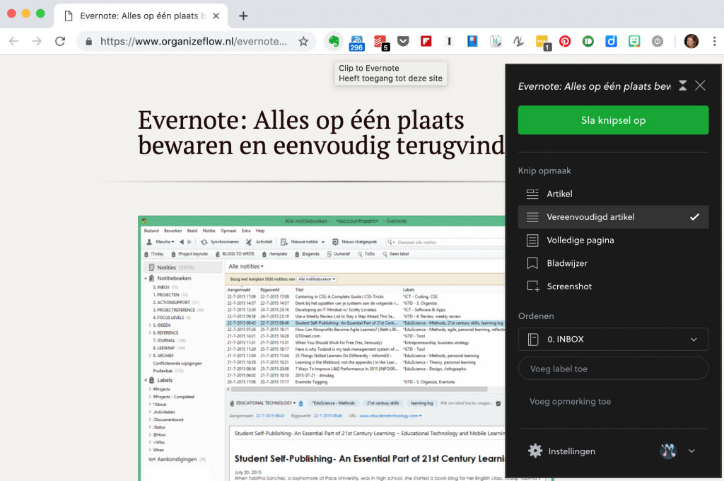 Artikelen bewaren via de Evernote Webclipper