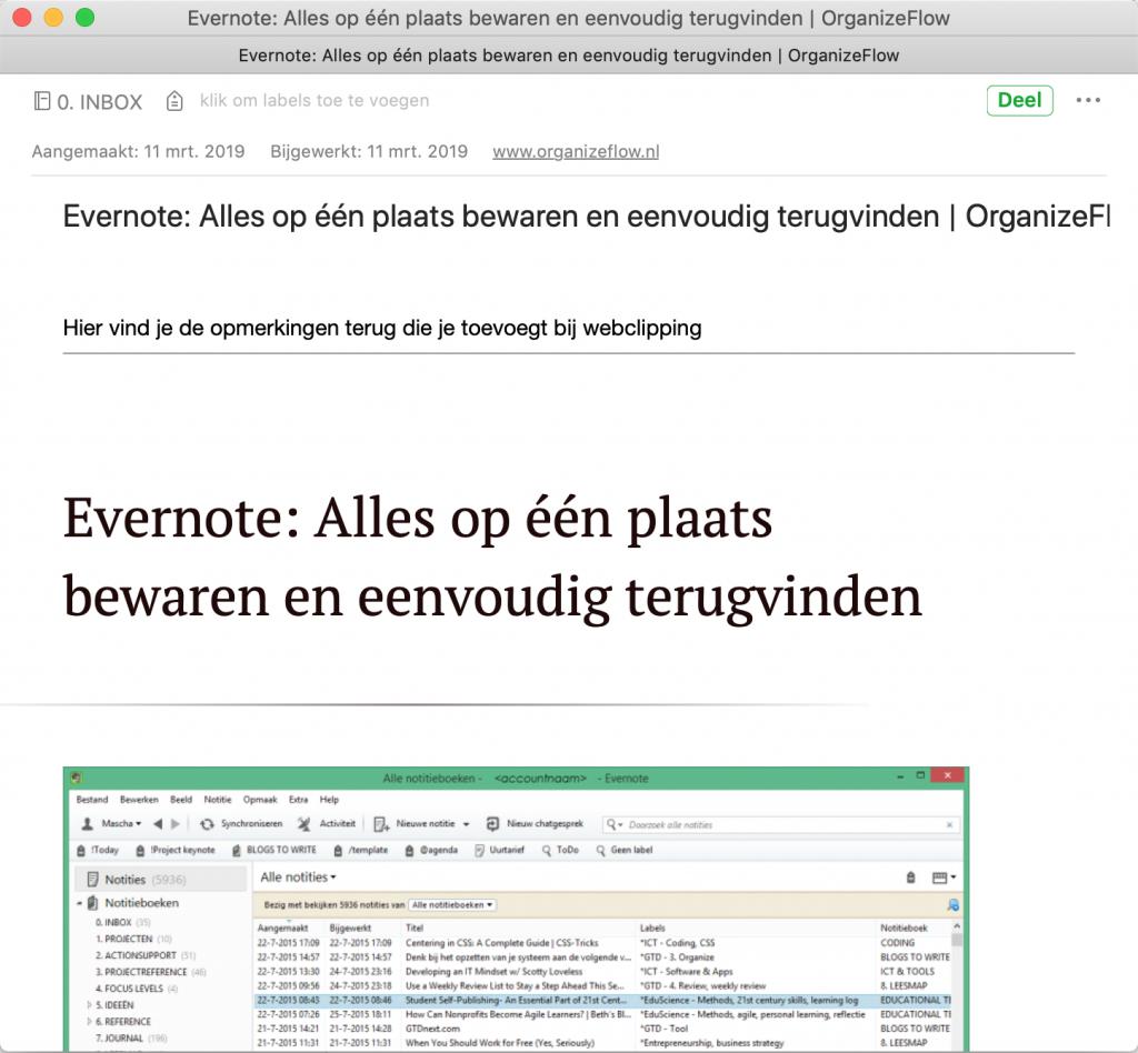 Een artikel dat via de Evernote webclipper in Evernote is toegevoegd, inclusief opmerking