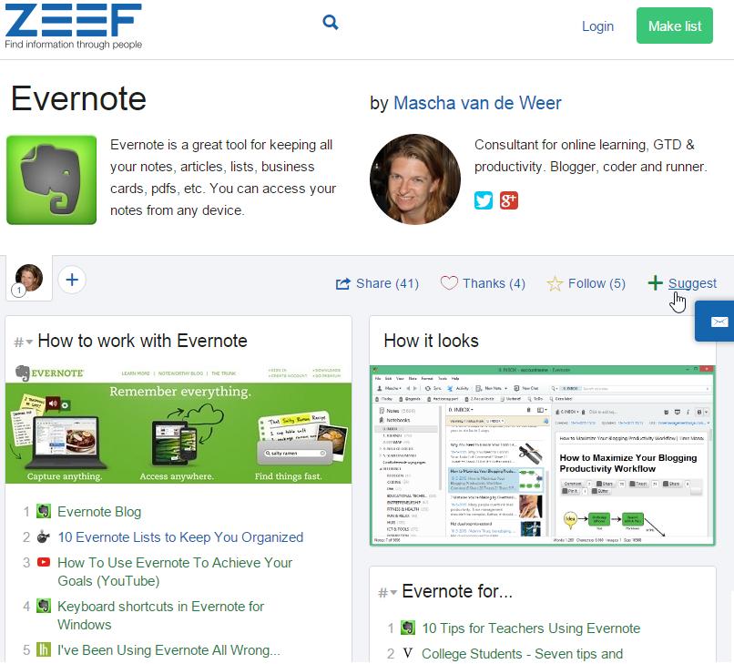 Mijn ZEEF-pagina over Evernote (evernote.zeef.com)