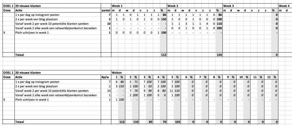 2 Exceloverzichten met onder elkaar de tactieken en daarachter kolommen waarin je de score per dag of per week kunt bijhouden.