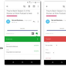 Gmail met de Todoist en Evernote add-ons in de rechter zijbalk en zichtbaar in de Android apps
