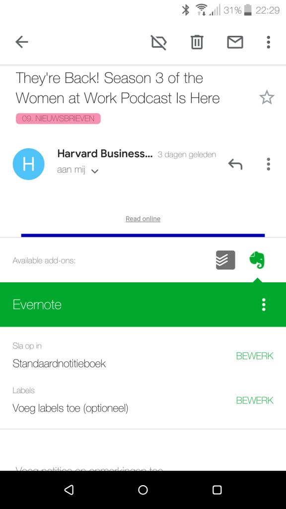 Evernote-velden onderaan e-mail in Gmail-app