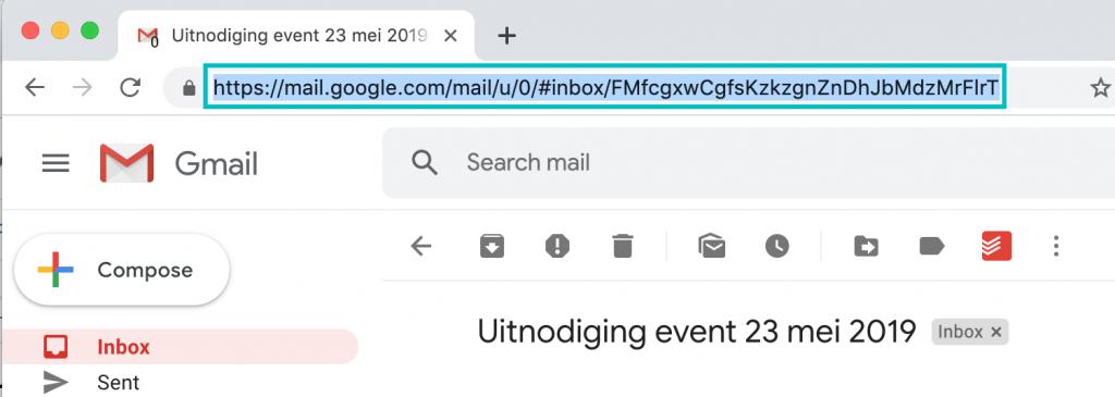 E-mail in Gmail waarvan de link geselecteerd is.