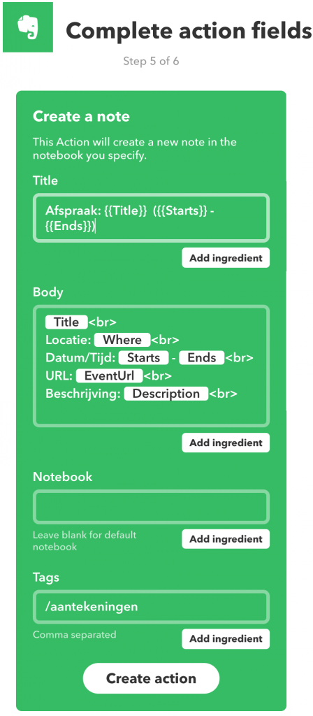 Instellen hoe een Evernote-notitie moet worden aangemaakt door IFTTT