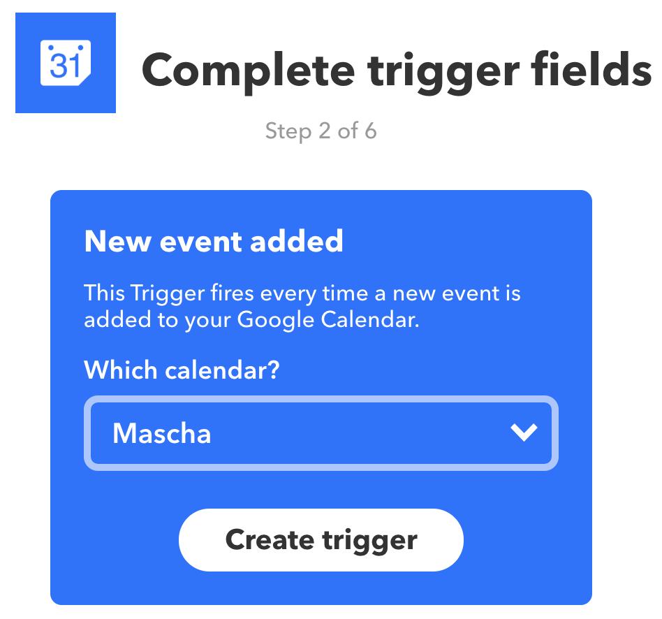 Een Google Agenda selecteren als trigger in IFTTT