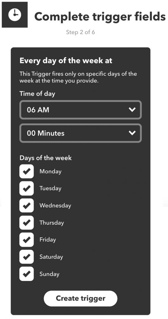 Tijdstip invullen en weekdagen selecteren voor de IFTTT-trigger