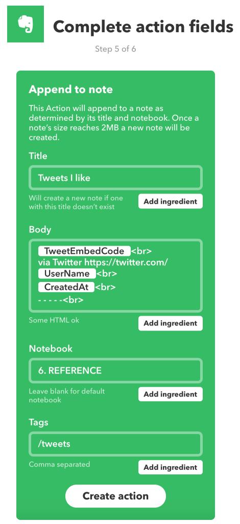 Velden invullen voor de IFTTT-action om gelikete tweets te verzamelen in  één Evernote-notitie