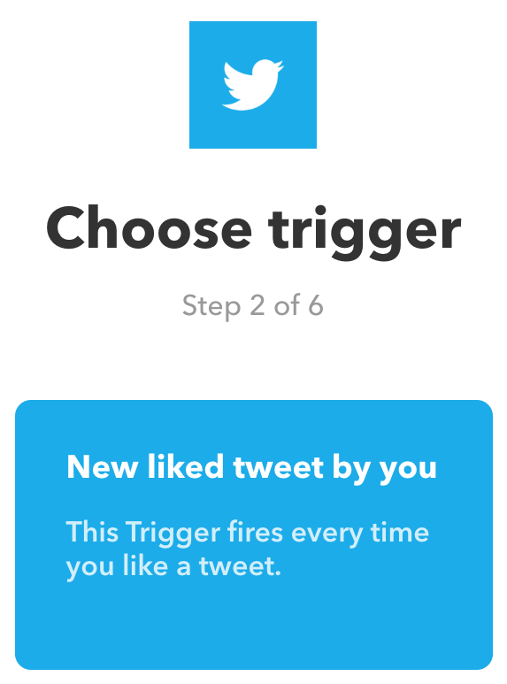 De IFTTT-trigger 'New liked tweet by you' selecteren