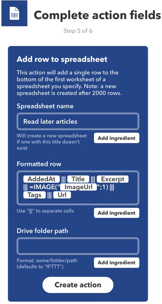 IFTTT-action is de titel en link van het Pocket-item toevoegen aan een Google Spreadsheet