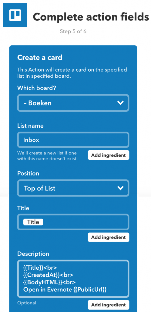 IFTTT-action: Trello-kaart aanmaken in de lijst Inbox op het bord Boeken