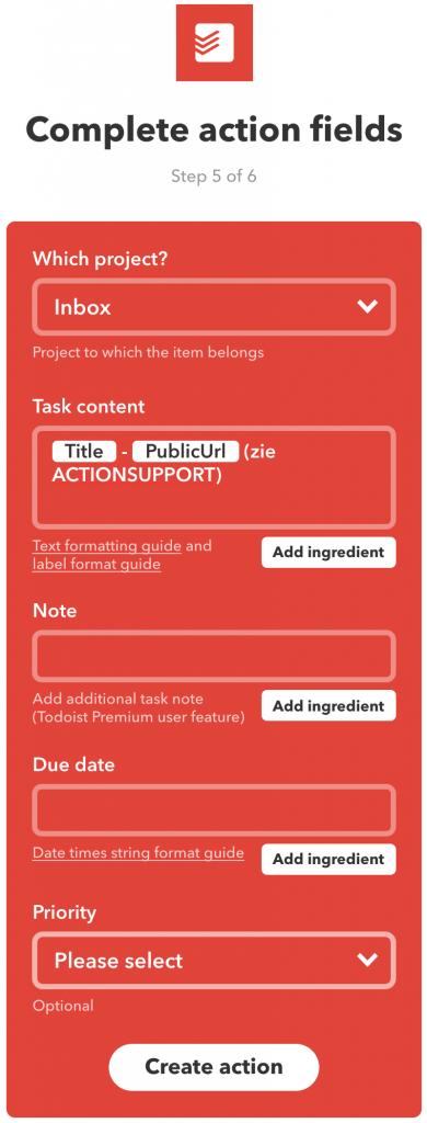 Velden invullen in IFTTT voor de actie Create (Todoist) task.