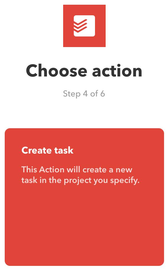 Create task als enige beschikbare actie voor deze IFTTT-applet