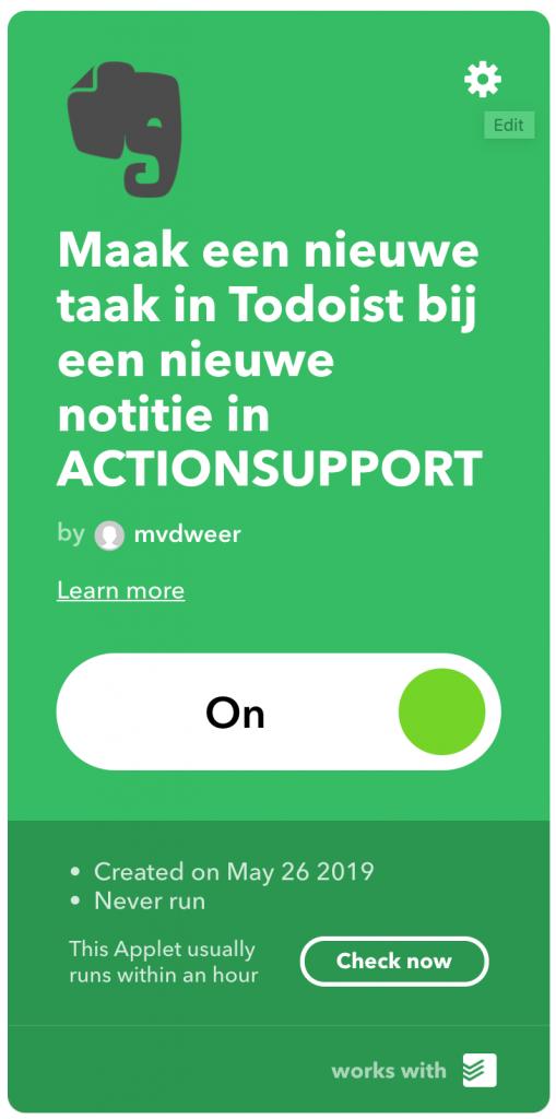 Voltooide IFTTT-applet met een knop om deze te wijzigen, te checken en aan of uit te zetten.