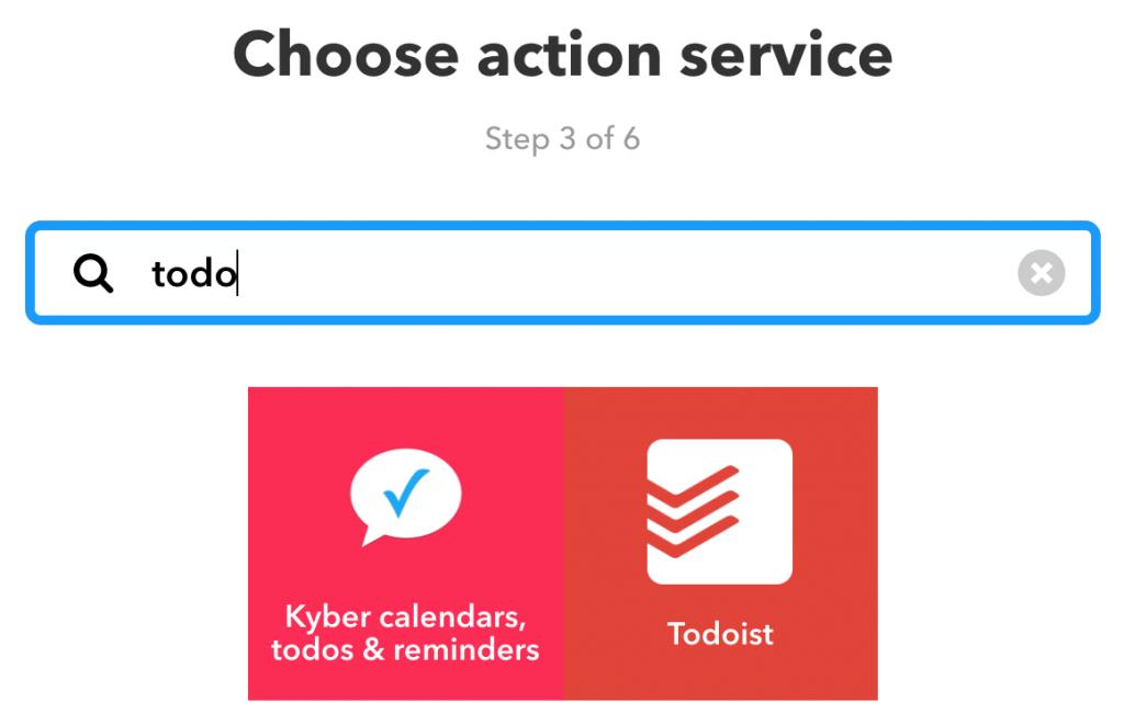 De Todoist-service zoeken en selecteren voor een actie
