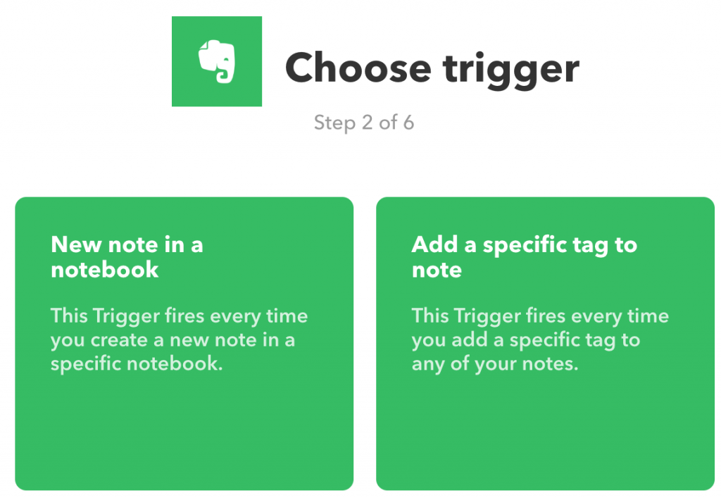 De twee triggers voor Evernote-services