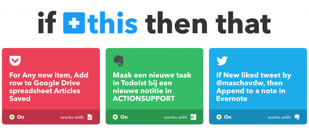 Drie voorbeelden van applets in IFTTT
