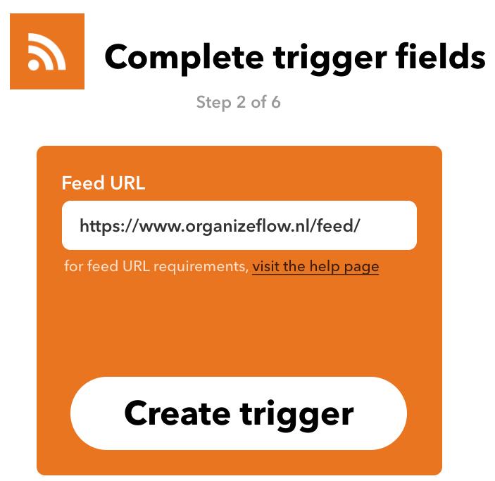 Veld in IFTTT waarin je de url van de RSS-feed invult, en een knop 'Create trigger'.
