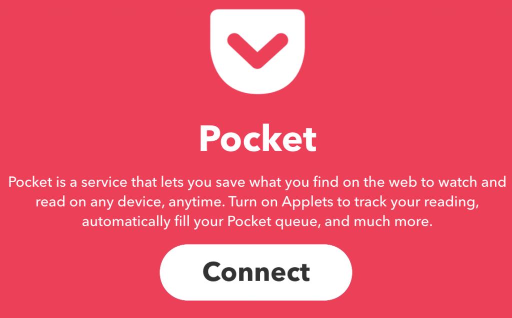 De app Pocket verbinden met IFTTT