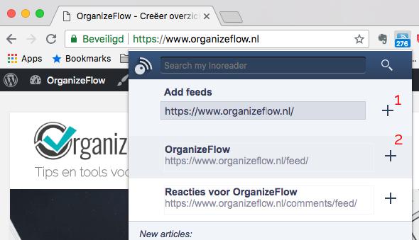 Velden die getoond worden als je via de browser extensie een feed toevoegt.