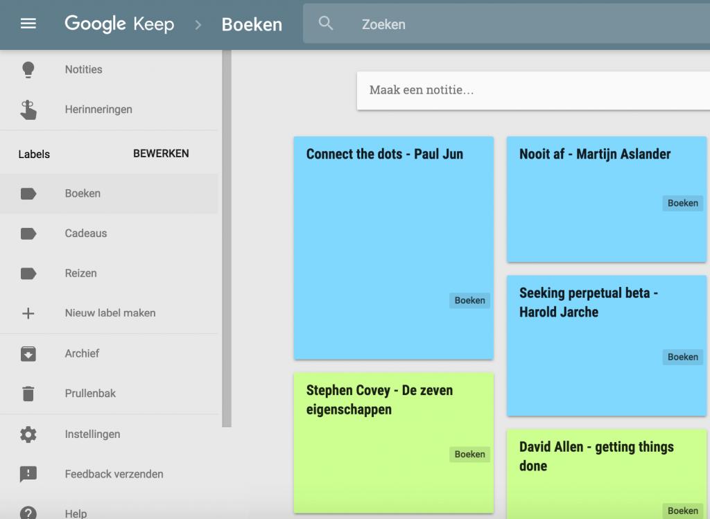 Lijst van Google Keep-notities met één idee per notitie.