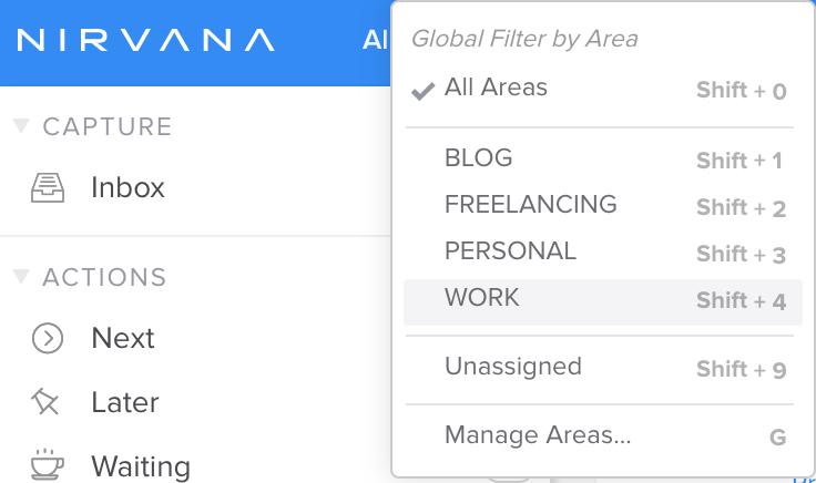 Lijstje met voorbeelden van areas in Nirvana (All, Blog, Freelancing, Personal, Work)