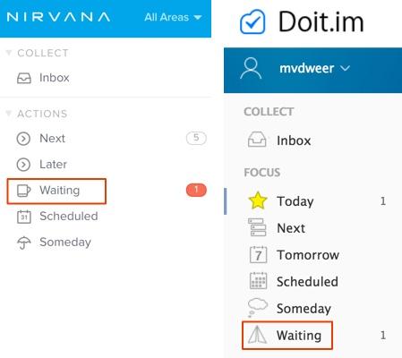 'Wachten op'-lijst in Nirvana en Doit.im