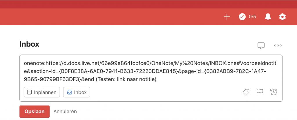 Taak in Todoist met een link naar notitie in OneNote