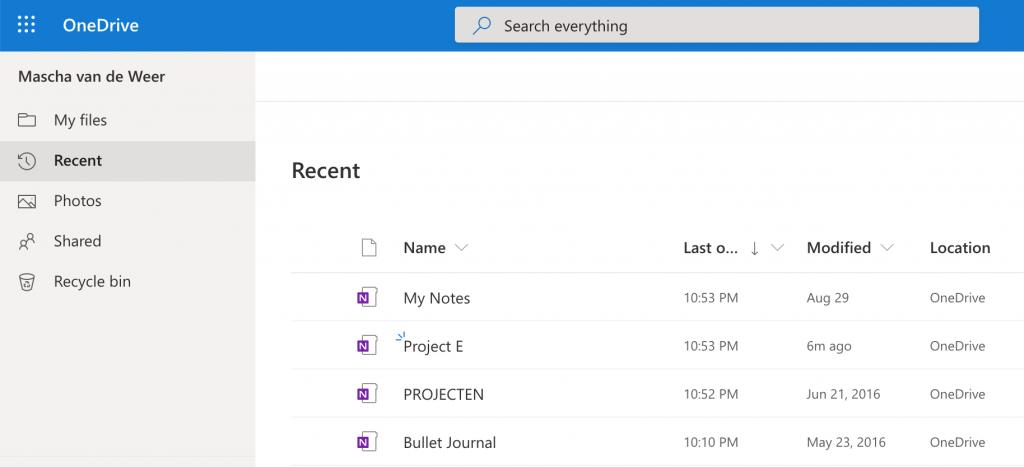 OneNote notitieboek-bestanden op OneDrive