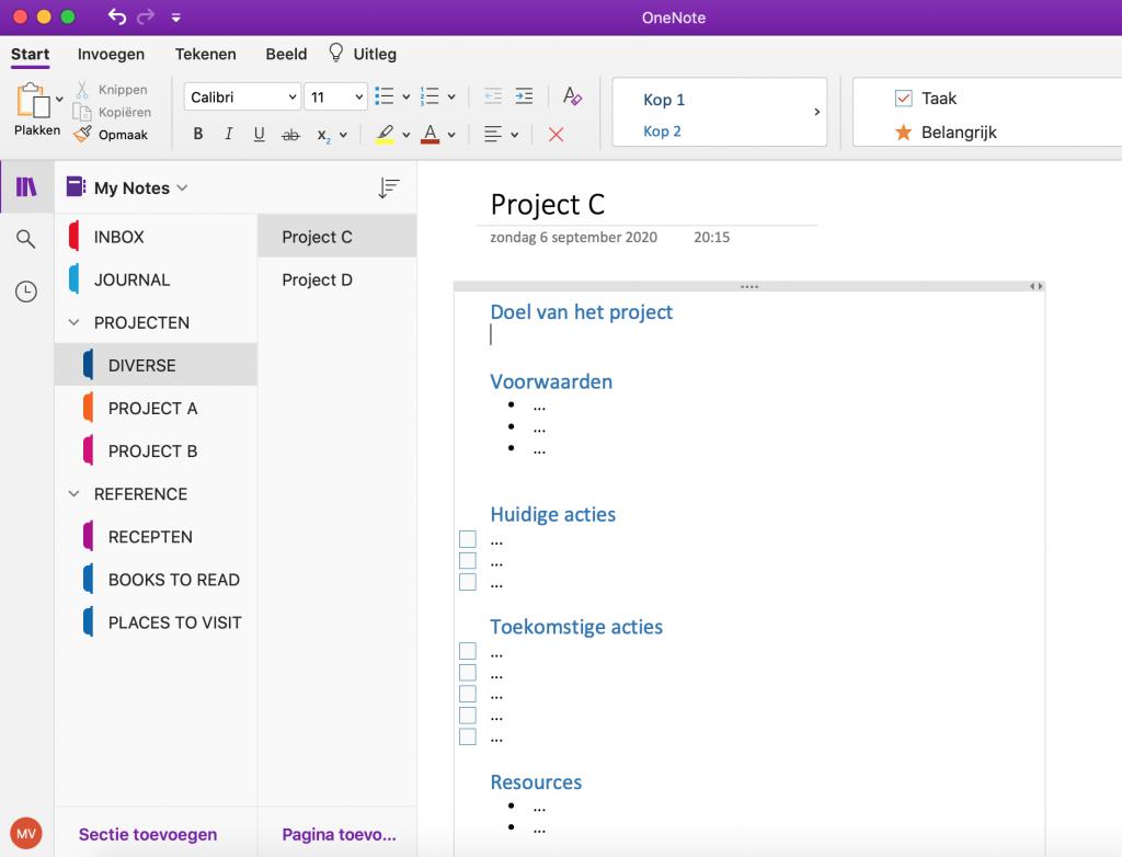 OneNote-structuur met notitieboek, secties, sectiegroepen en pagina's.