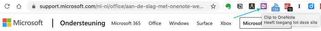 De OneNote webclipper in je browser