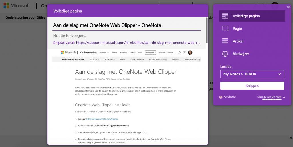 Een artikel opslaan in OneNote met de webclipper
